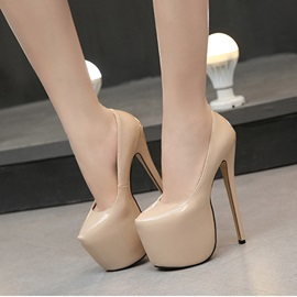 Thin Shoes Round Toe PU Stiletto Heel Wedding Shoes