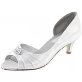 Leatherette Upper Mid Heel Peep-toes Pumps With Rhinestones Wedding Shoes