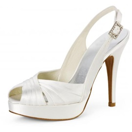 Amazing Leatherette Upper Stiletto Heel Peep-toes With Rhinestone Wedding Shoes