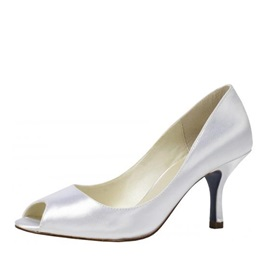 Mid Spool Heel Peep-toes Wedding Bridal Shoes