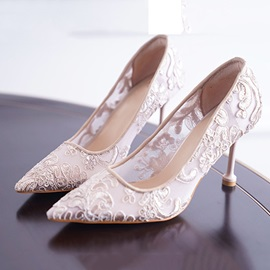 Pointed Toe Slip-On Lace Low-Cut Upper Thin Shoes
