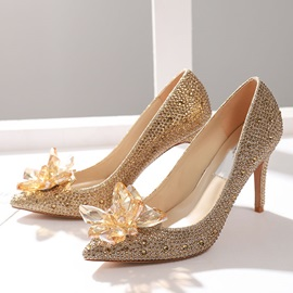 Stiletto Heel Rhinestone Pointed Toe Low-Cut Upper Thin Shoes