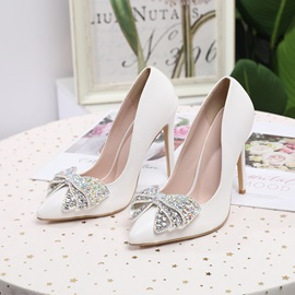 Pointed Toe Rhinestone Stiletto Heel Low-Cut Upper Thin Shoes