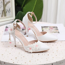 Stiletto Heel Pointed Toe Line-Style Buckle Wedding Thin Shoes