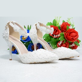 Stiletto Heel Line-Style Buckle Beads Sweet Thin Shoes