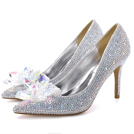 Wedding Shoes Pointed Toe Slip-On Appliques Banquet Thin Shoes