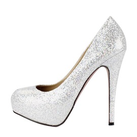 Shining PU Upper Stiletto Heels Closed-toe Wedding Shoes