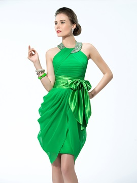 Modern Sheath Halter Bowknot Beading Pleats Short Cocktail Dress