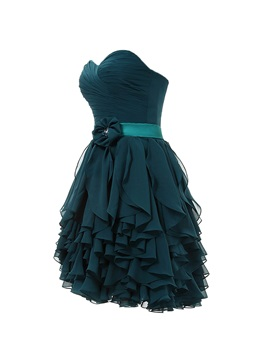 Delicate Sweetheart Ruffles Flower Short Cocktail Dress