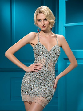 Sensual Sheath Short/Mini Beading Criss-Cross Straps Cocktail Dress