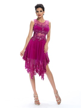 Sensual A-Line Tulle Neck Appliques Beading Asymmerty Cocktail/Party Dress