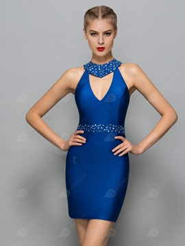 Modern V-Neck Beading Sheath Cocktail Dress