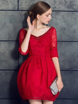 Top Selling A-Line V-Neck Half Sleeves Beading Lace Pearls Short Cocktail Dress