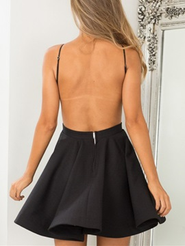 Modern Spaghetti Straps Backless Black Cocktail Dress