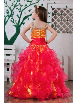 Amazing A-line Floor-length Scoop Ruched & Sequins Flower Girl Dress