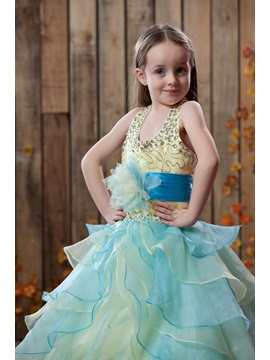 Beautiful Ball Gown Tiered Halter Floor-length Flower Girl Dress