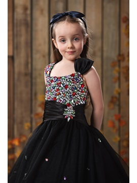 A-line Sqaure Knee-length Rhinestone Flower Girl Dress