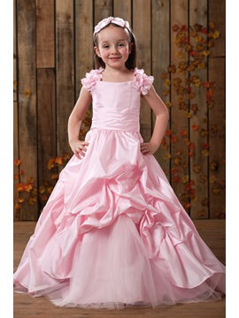 Elegant Beaded Ball Gown Floor-Length Flower Girl Dress