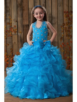 Charming A-line Halter Beaded Floor-length Ruffles Flower Girl Dress
