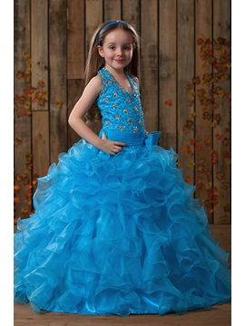 Halter Beaded Ruffles Flower Girl Dress