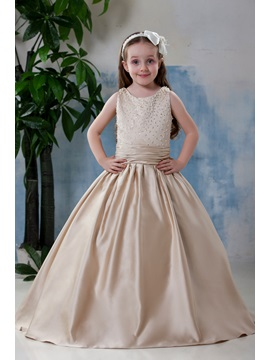 Buy Excellent Scoop Knee-length Pleats Flower Girl Dress