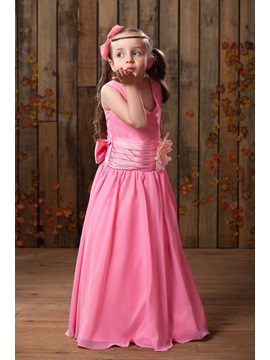 A-line V-neck Floor-length Flower Embellishing Flower Girl Dress