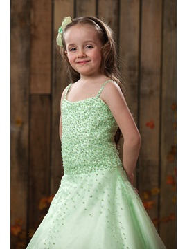 Spaghetti Straps Beading Flower Girl Dress