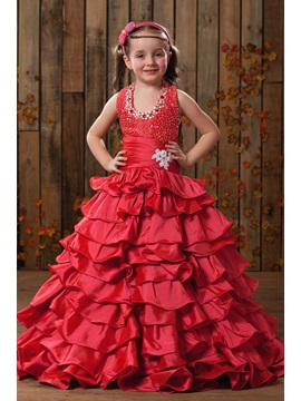 Beaded  Tiered Flower Girl Dress