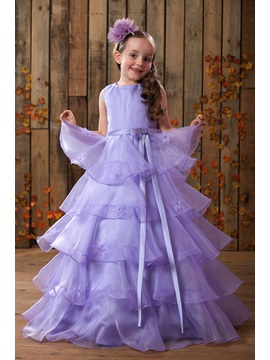 Buy Fancy Straps Sashes Beading Tiered Flower Girl Dress