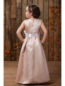 Elegant Empire Scoop Floor-length Appliques Flower Girl Dress