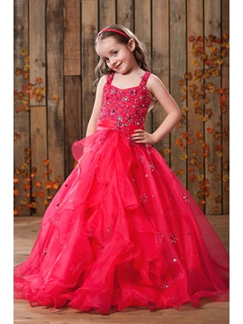 Buy Elegant A-Line Straps Floor-length Sequins Flower Girl Dress