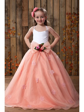 Wonderful Spaghetti Straps Bowknot Flower Girl Dress