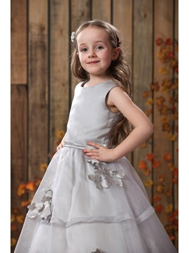 A-line Floor-length Bateau Appliques Flower Girl Dress