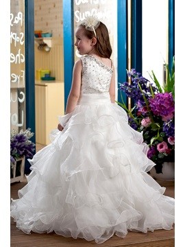 Ball Gown Tiered Beaded Sequins Flower Girl Dress