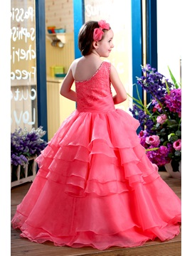 Glamorous Ball Gown Floor-length One-Shoulder Ruffles Flower Girl Dress