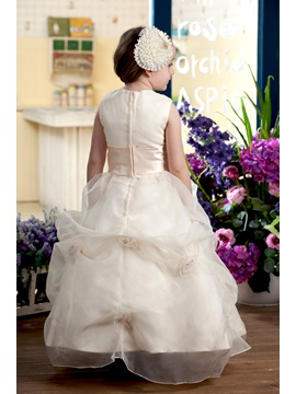 Ball Gown Bateau Tiered Ankle-length Flowers Embellishing Flower Girl Dress