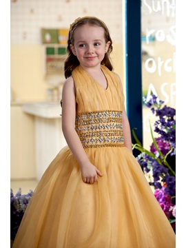 Charming Halter Beaded Pleats Flower Girl Dress