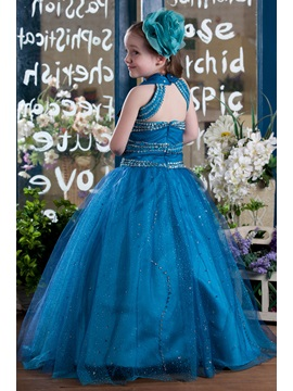 Elegant A-line Floor-length Halter Beading & Sequins Flower Girl Dress
