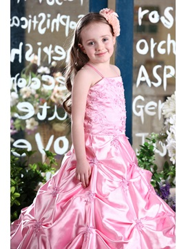 Popular Ball Gown Floor-Length Spaghetti Straps Pleats Flower Girl Dress