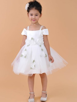 Buy Cute Short Straps Flowers Knee-length Flower Girl Dress
