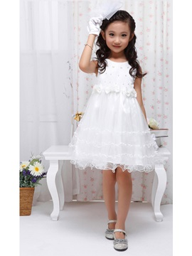 Cute Strapsless Bowknot Knee-length Flower Girl Dress With Jacket/Shawl