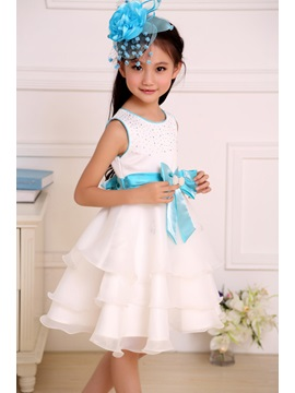 Cute Sashes Strapsless Knee-length Bowknot Flower Girl Dress
