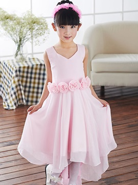Buy Cute V Neck Zipper-Up Asymmetry Flower Sashes Girl Dress