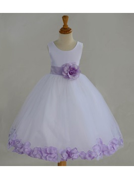 Admirable Jewel Neck Floral A-Line Flower Girl Dress with Sash