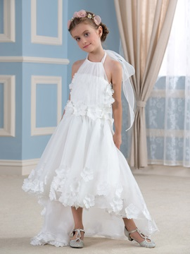 Asymmetry Halter Flower Embellishing Ivory Organza Flower Girl Dress