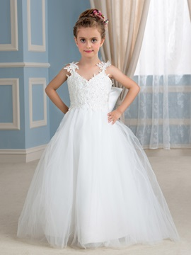 Straps Beaded Lace Appliques Flower Girl Dress