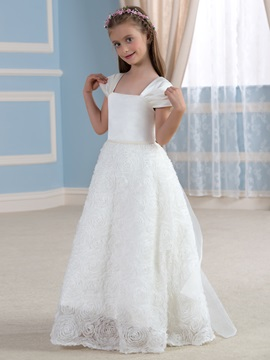 Beaded Square Neck Cap Sleeve Ivory Rosette Flower Girl Dress