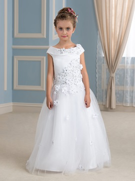 Beaded Lace Flower Embellishing Tulle Overlay White Flower Girl Dress