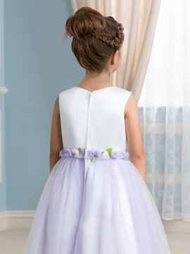 Fancy Floral Waistband Tea-Length Flower Girl Dress