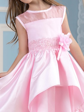 Adorable Tea Length A-Line Beaded Tiered Pink Flower Girl Dress